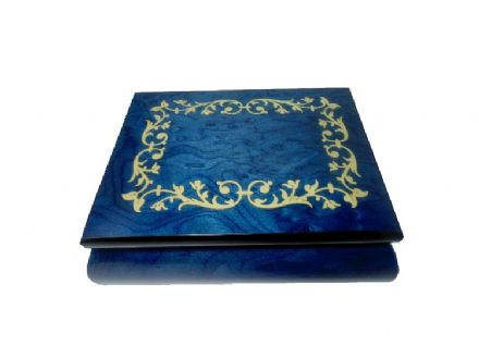 Blue Scroll Inlay Musical Jewellery Box MAD415TLBLL